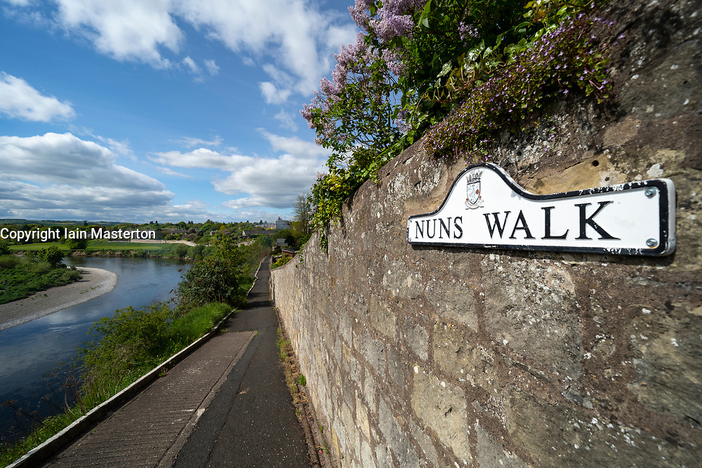 Nuns Walk footpath beside River Tweed in town of Coldstream in Scottish Borders, Scotland, UK