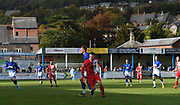 Everyone of both teams are rushing into new positions as the ball just went out of play during the Northern Premier League match between Matlock FC and Ashton United at the Proctor Cars Stadium on October 10th, 2020 in Matlock, Derbyshire. Local fans welcomed to watch the match maintaining Government's Covid-19 guidelines. (VXP Photo/ Shaun Hardwick)