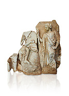Roman Sebasteion relief  sculpture of Apollo and a Muse Aphrodisias Museum, Aphrodisias, Turkey.     Against a white background.<br /> <br /> On the left stood Apollo, one foot raised on a rock, playing his lyre which rests on top of the omphalos (the earth's navel stone, tied down at Delphi(. On the right stands a muse holding one arm of Apollos lyre. .<br /> <br /> If you prefer to buy from our ALAMY STOCK LIBRARY page at https://www.alamy.com/portfolio/paul-williams-funkystock/greco-roman-sculptures.html . Type -    Aphrodisias     - into LOWER SEARCH WITHIN GALLERY box - Refine search by adding a subject, place, background colour, museum etc.<br /> <br /> Visit our ROMAN WORLD PHOTO COLLECTIONS for more photos to download or buy as wall art prints https://funkystock.photoshelter.com/gallery-collection/The-Romans-Art-Artefacts-Antiquities-Historic-Sites-Pictures-Images/C0000r2uLJJo9_s0