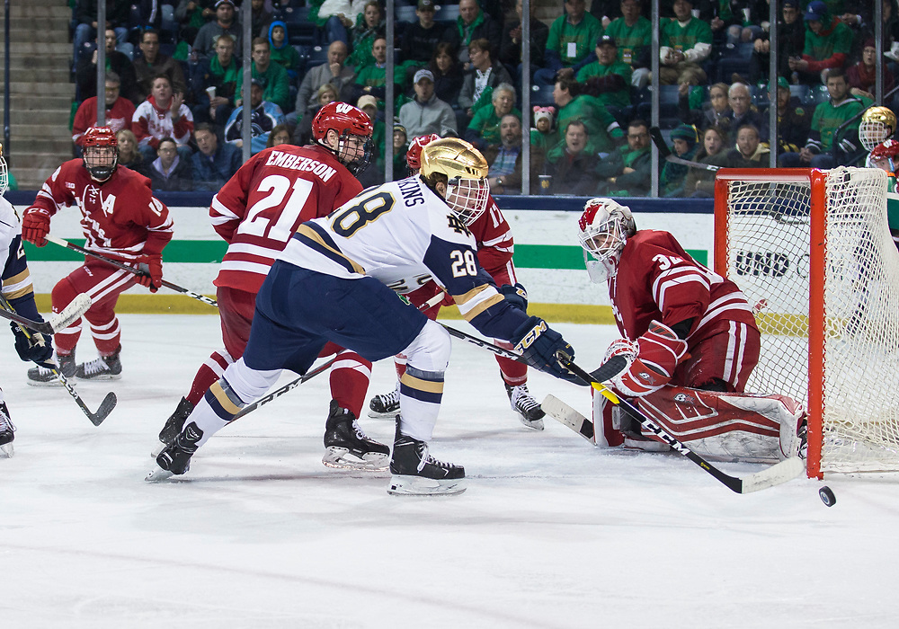 February 15, 2019:  Notre Dame forward Jack Jenkins (28) looks for the rebound on save by Wisconsin goaltender Daniel Lebedeff (32) during NCAA Hockey game action between the Wisconsin Badgers and the Notre Dame Fighting Irish at Compton Family Ice Arena in South Bend, Indiana.  Wisconsin defeated Notre Dame 2-1.  John Mersits/CSM