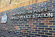 THe sign of the main Police station in Enfiled Town, Greater London, UK.