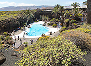 Tropical gardens Jameo Grande swimming pool Jameos de Aqua, by Cesar Manrique, Lanzarote, Canary Islands, Spain