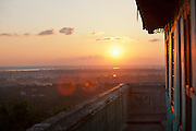 Sunset seen from a monastery on  the hills of Sagaing, near Mandalay in Myanmar