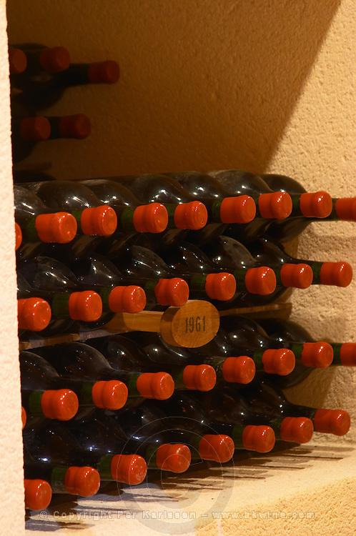 Bottles aging in the cellar. 1961. Chateau Grand Corbin Despagne, Saint Emilion Bordeaux France