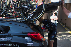 Emilia Fählin (SWE) of Wiggle Hi5 Cycling Team prepares for Liege-Bastogne-Liege - a 136 km road race, between Bastogne and Ans on April 22, 2018, in Wallonia, Belgium. (Photo by Balint Hamvas/Velofocus.com)