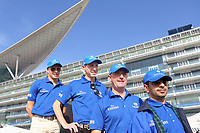Galopp<br /> Foto: imago/Digitalsport<br /> NORWAY ONLY<br /> <br /> 26.03.2015, Dubai, UAE, VEREINIGTE ARABISCHE EMIRATE - from left: Jockey William Buick, Jockey James Doyle, trainer Charlie Appleby and trainer Saeed bin Suroor in front of Meydan grandstand. Meydan racecourse.