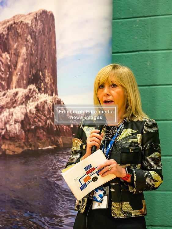 Haddington & Lammermuir by-election count. Haddington, East Lothian, Scotland, United Kingdom, 10 May 2019. Pictured:   Returning Officer, Angela Leitch. The election takes place of one councillor in Ward 5 of East Lothian Council due to the resignation of Councillor Brian Small. The successful candidate represents this ward along with the three existing councillors. The by-election uses the Single Transferable Vote (STV) system in which voters can rank candidates in order of preference and can choose to vote for as many or as few candidates as they like. The election fields 5 candidates from Scottish National Party (SNP), Scottish Labour Party, Scottish Conservatives and Unionist Party, Scottish Liberal Democrats and UK Independence Party (UKIP).<br /> <br /> Sally Anderson | EdinburghElitemedia.co.uk