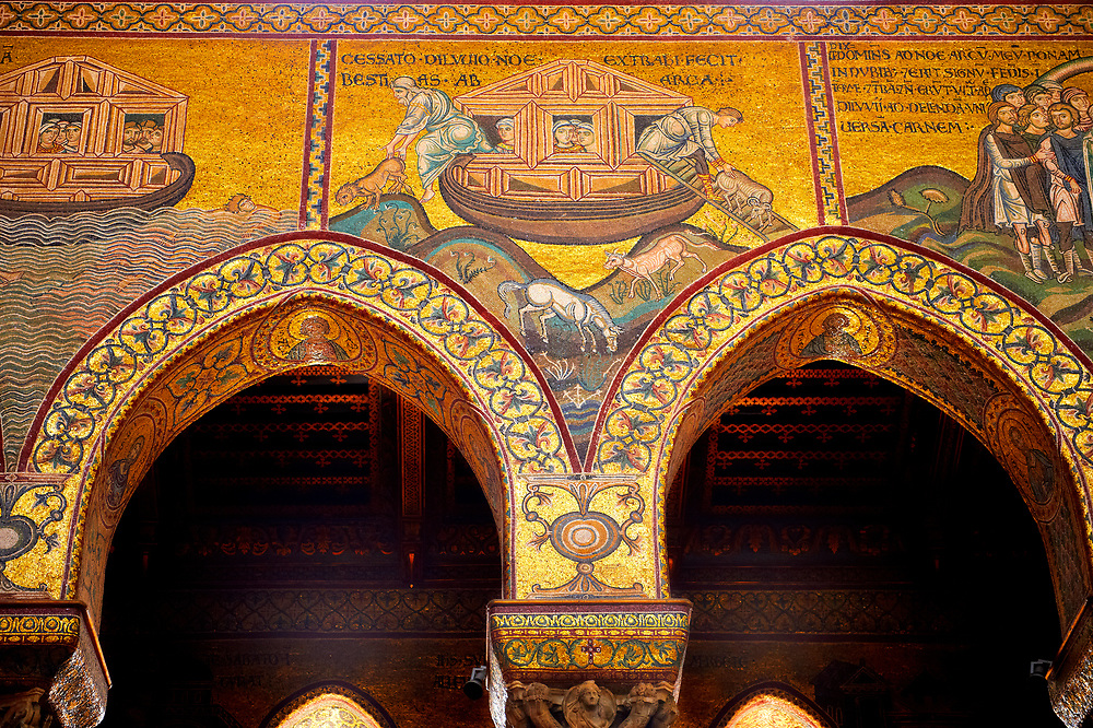 Medieval Byzantine mosaics of Noah's Arc, Monreale Cathedral, Sicily .<br /> <br /> If you prefer you can also buy from our ALAMY PHOTO LIBRARY  Collection visit : https://www.alamy.com/portfolio/paul-williams-funkystock/monrealeduomomosaics.html. Refine search by adding subject etc  into the LOWER SEARCH WITHIN GALLERY box. <br /> <br /> Visit our BYZANTINE MOSAIC PHOTO COLLECTION for more   photos  to download or buy as prints https://funkystock.photoshelter.com/gallery-collection/Roman-Byzantine-Art-Artefacts-Antiquities-Historic-Sites-Pictures-Images-of/C0000lW_87AclrOk