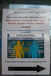 © Licensed to London News Pictures. 14/03/2020. London, UK. Information poster about coronavirus at North Middlesex University Hospital in Edmonton, north London, where two patients have tested positive for COVID-19. On Friday 13 March, a newborn baby was diagnosed with coronavirus becoming the youngest patient in the UK to be tested positive. The baby's mother is treated in North Middlesex University Hospital. 21 coronavirus victims have died and 820 cases have tested positive for the virus in the UK. Coronavirus will force NHS to cancel routine operations. Photo credit: Dinendra Haria/LNP