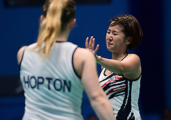 Mizuki Fuji of Bristol Jets and Jess Hopton of Bristol Jets celebrate  - Photo mandatory by-line: Robbie Stephenson/JMP - 07/11/2016 - BADMINTON - University of Derby - Derby, England - Team Derby v Bristol Jets - AJ Bell National Badminton League