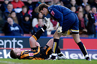 Photo: Alan Crowhurst.<br />Crystal Palace v Hull City. Coca Cola Championship. 20/01/2007. Hull's  Stephen McPhee (L) gets a mouthful from keeper Scott Flinders after diving in the box. He received a yellow card.