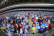 Sheffield Wednesday fans inside Wembley Stadium before k/o. Skybet football league Championship play off final match, Hull city v Sheffield Wednesday at Wembley Stadium in London on Saturday 28th May 2016.<br /> pic by John Patrick Fletcher, Andrew Orchard sports photography.