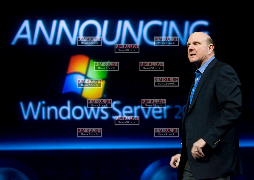 Microsoft CEO Steve Ballmer keynotes the Server 2008 Launch event in Los Angeles  Photo by Kim Kulish