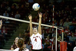 18 November 2005:  Erin Lindsey sets up the kill attempt. Missouri State Bears clawed their way past the Illinois State Redbirds in 4 games to take the match played at Redbird Arena in Normal Illinois. Missouri State Bears clawed their way past the Illinois State Redbirds in 4 games to take the match played at Redbird Arena in Normal Illinois.