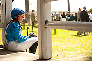 2  April, 2011:  Jockey Danielle Hodson waits patiently in the paddock before the 4th race on the card.