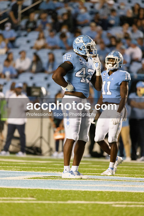 CHAPEL HILL, NC - SEPTEMBER 11: Tyrone Hopper #42 of the North Carolina Tar Heels plays during a game against the Georgia State Panthers on September 11, 2021 at Kenan Stadium in Chapel Hill, North Carolina. North Carolina won 59-17. (Photo by Peyton Williams/Getty Images) *** Local Caption *** Tyrone Hopper