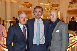 Bill Prince, Laurent Feniou, Dylan Jones at the reopening of the Cartier Boutique, New Bond Street, London, England. 31 January 2019. <br /> <br /> ***For fees please contact us prior to publication***