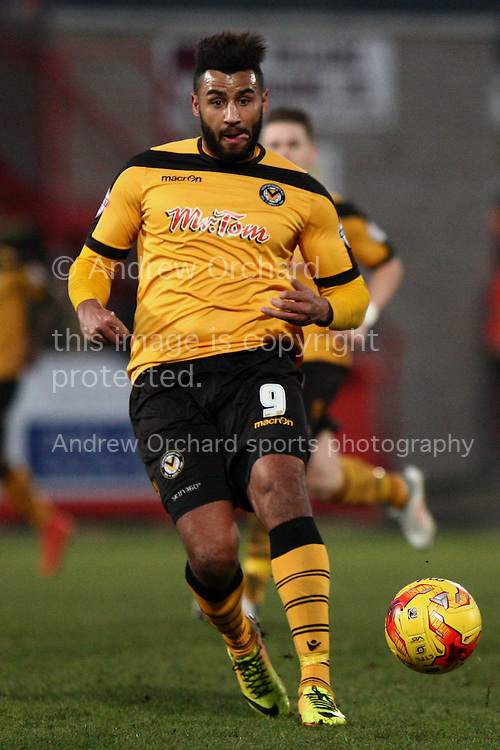 Rene Howe of Newport County in action.<br /> Skybet football league two match, Cheltenham Town  v Newport County at The Abbey Business Stadium, Whaddon Road in Cheltenham, Glos on Sunday 28th December 2014.<br /> pic by Mark Hawkins, Andrew Orchard sports photography.