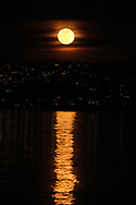 Moonrise reflected in Commencement Bay, Sunday, Feb. 9, 2020, in Tacoma. (Photo: John Froschauer)