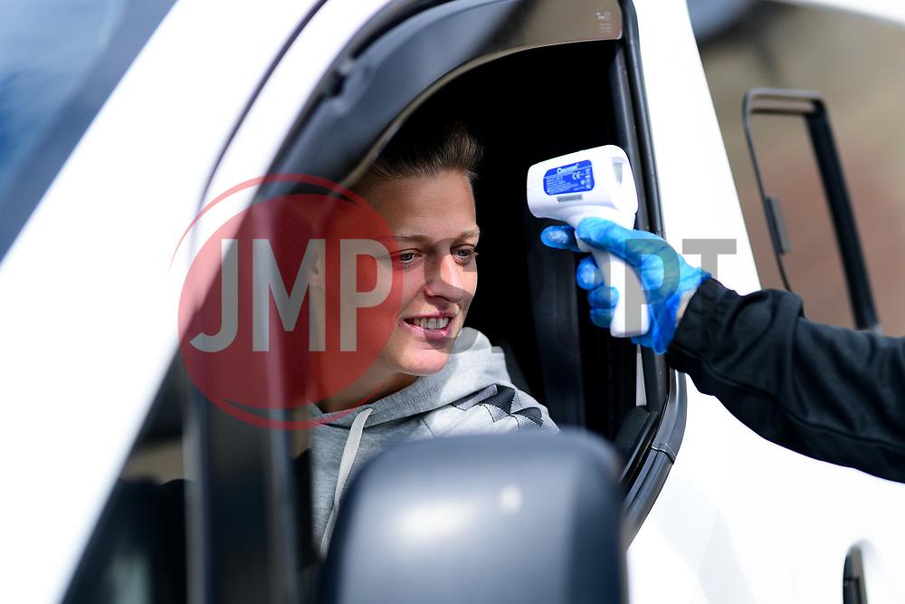 Yana Daniels of Bristol City has her temperature checked on arrival - Mandatory by-line: Ryan Hiscott/JMP - 06/09/2020 - FOOTBALL - Twerton Park - Bath, England - Bristol City Women v Everton Ladies - FA Women's Super League