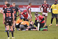 James Greenwood (21) of Salford Red Devils receives treatment