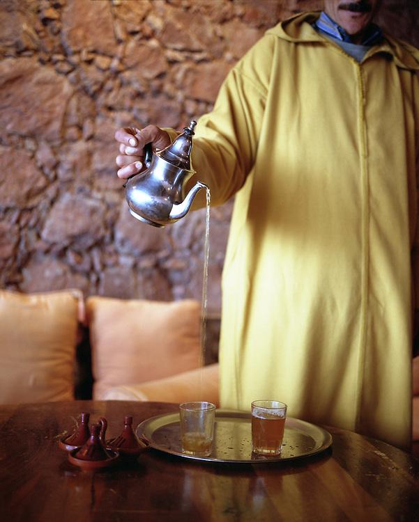 Pouring tea in the High Atlas Mountains, Morocco