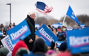 Democratic 2020 presidential candidate Bernie Sanders speaks at the podium during a rally at James Madison Park in Madison, WI on Friday, April 12, 2019.