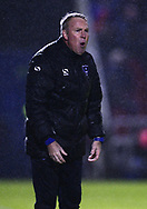Kenny Jackett,  the manager of Portsmouth shouts at his players as the rain falls.  EFL Skybet Football League one match, Northampton Town v Portsmouth at the Sixfields Stadium in Northampton on Tuesday 12th September 2017. <br /> pic by Bradley Collyer, Andrew Orchard sports photography.