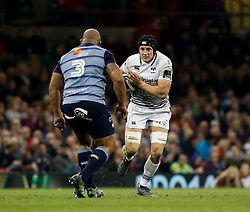 Ospreys' James King lines up Cardiff Blues' Taufa'ao Filise<br /> <br /> Photographer Simon King/Replay Images<br /> <br /> Guinness PRO14 Round 21 - Cardiff Blues v Ospreys - Saturday 28th April 2018 - Principality Stadium - Cardiff<br /> <br /> World Copyright © Replay Images . All rights reserved. info@replayimages.co.uk - http://replayimages.co.uk