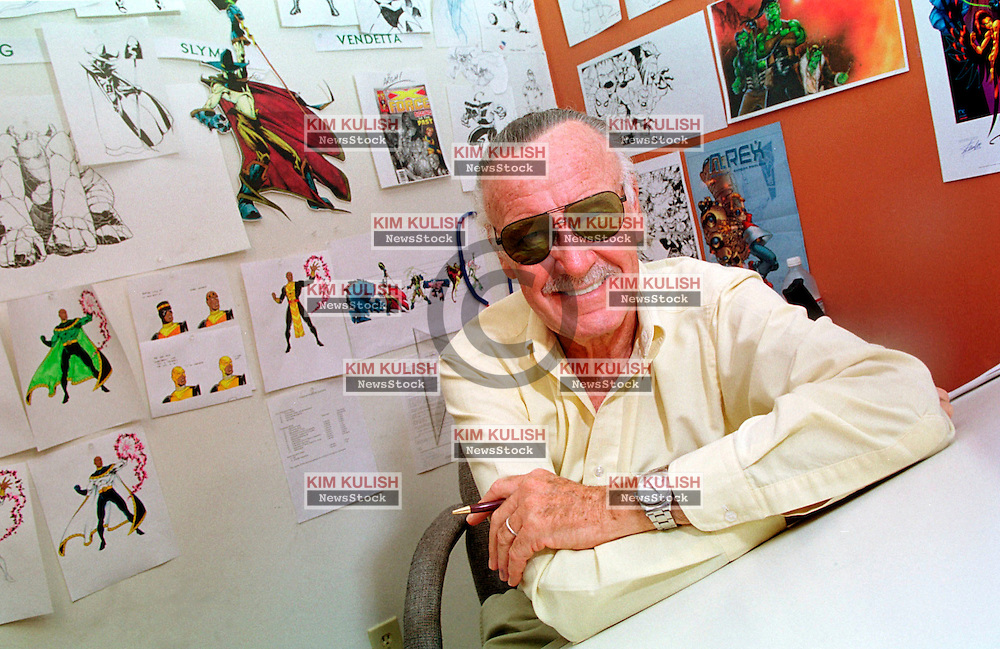 Stan Lee, Creator of Spider Man and other Marvel Comic Book Characters in His Los Angeles office..  Marvel Enterprises Inc. was told it owes comic book icon Lee 10% of the profit it has received since November 1998 for films based on Spider-Man and other superheroes Lee created.  Photo by Kim Kulish