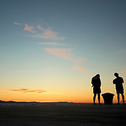 Two young boys at the end of a beach day