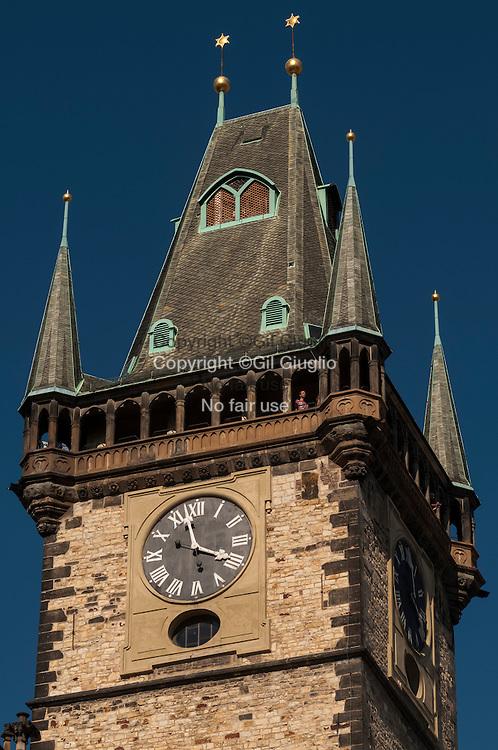 Czech Republic, Prague, Stare Mesto, Praha 1,  Town Hall Clock Tower on Staromestske Namesty place