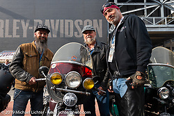 Riding partners Shane Masters, Brent Mayfield and Jason Wadzinski of Ohio at the Harley-Davidson Museum during the Cross Country Chase motorcycle endurance run from Sault Sainte Marie, MI to Key West, FL (for vintage bikes from 1930-1948). Stage 2 from Ludington, MI to Milwaukee, WI, USA. Saturday, September 7, 2019. Photography ©2019 Michael Lichter.