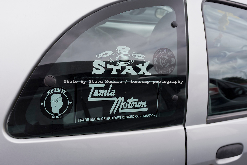 Northern Soul Stickers on a Car Window.