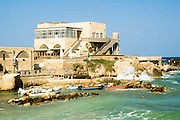 Israel, Caesarea, The old harbour now a resort beach