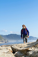 Backpacking along the Oregon coast. Hug Point, OR.