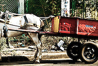 A typical method of commercial delivery in the busy streets of Leon, Nicaragua.