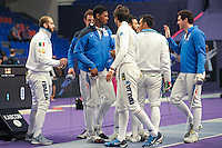Equipe France / Equipe Italie - 03.05.2015 - Challenge SNCF Reseau - Coupe du Monde Epee messieurs<br />Photo : Andre Ferreira / Icon Sport