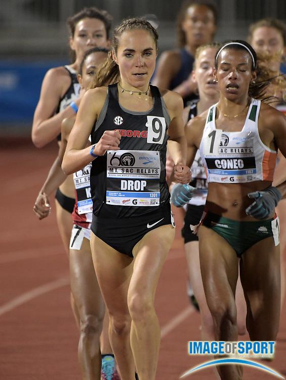 Apr 20, 2018; Torrance, CA, USA; Jessica Drop of Georgai wins the invitational women's 5,000m in 15:38.57 during the 60th Mt. San Antonio College Relays at Murdock Stadium.