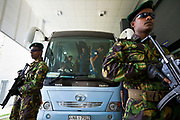 The Australian National Cricket team under heavy security arrive at Premadasa Stadium before their match against Pakistan in the ICC 2011 world cup,  Colombo, Sri Lanka