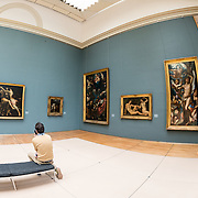 A painting exhibit room at the Royal Museums of Fine Arts in Belgium (in French, Musées royaux des Beaux-Arts de Belgique), one of the most famous museums in Belgium. The complex consists of several museums, including Ancient Art Museum (XV - XVII century), the Modern Art Museum (XIX ­ XX century), the Wiertz Museum, the Meunier Museum and the Museé Magritte Museum.