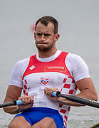 Plovdiv, Bulgaria, 10th May 2019, FISA, Rowing World Cup 1,  CRO M1X, Damir MARTIN, at the start, of a heat of the Men's Single Sculls, © Peter SPURRIER,