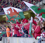 Cardiff, Wales, UK., Millennium Stadium 14th February<br /> 2004, 6 Nations, Wales vs Scotland, [Mandatory Credit; Peter Spurrier; Intersport Images],<br />  <br /> <br /> 14/02/2004  -  RBS Six Nations Championship 2004 Wales v Scotland:<br /> Welsh fans' wave the Red Dragon.   [Mandatory Credit, Peter Spurrier/ Intersport Images]