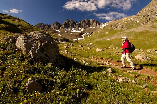 Hiker, Tanya Cox in American Basin, Colorado. Summer.
