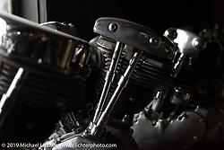 Harley-Davidson Shovelhead engine on the bench at Yuichi Yoshizawa and Yoshikazu Ueda's Custom Works Zon shop in Shiga, Japan. Thursday, December 6, 2018. Photography ©2018 Michael Lichter.