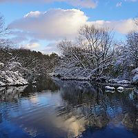 """""""Glorious Winter Day"""" <br /> <br /> A wonderful winter day with snow laden trees, bare branches, beautiful clouds in the sky, and reflections on the water!"""