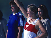 Banyoles, SPAIN, left, Gold medalist, ROM W1X Elisabeta LIPA - OLENIUC, right, CAN W1X SILKEN LAUMANN, awards dock and competing in the 1992 Olympic Regatta, Lake Banyoles, Barcelona, SPAIN.    [Mandatory Credit: Peter Spurrier: Intersport Images]