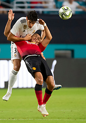 July 31, 2018 - Miami Gardens, FL, U.S. - MIAMI GARDENS, FL - JULY 31: Real Madrid's Jesus Vallejo (3) and Manchester United's Alexis Sanchez (7) fight for the ball during the International Champions Cup soccer game between Manchester United FC and Real Madrid CF on July 31, 2018 at the Hard Rock Stadium in Miami Gardens, Florida. (Photo by Doug Murray/Icon Sportswire) (Credit Image: © Doug Murray/Icon SMI via ZUMA Press)