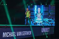 Michael van Gerwen walks onto the stage during the Unibet PDC Premier League of darts at Marshalls Arena, Stadium MK, Milton Keynes, England. UK on 7 April 2021.