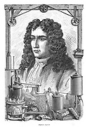 Denis Papin (1647-1712) French physicist.  Among  items at the bottom of the picture are his 'digester' (an early form of pressure cooker) left, and his steam engine, centre. From  'Vies des Savant Illustres',  Louis Figuier, (Paris, 1870).